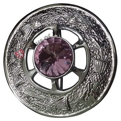 Ladies Tartan Sash Kilt Fly Plaid Brooch Pink Stone Chrome Finish 2' (5cm) Scottish Celtic Pin & Brooches Shawl Sash