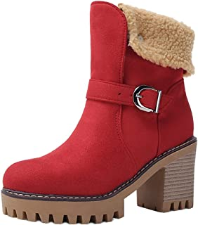 Melady Lydee Women Warm Winter Shoes Block High Heels Ankle Boots