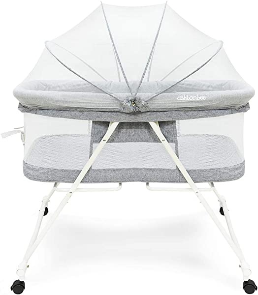 Portable Baby Bassinet Foldable Crib For Newborns Travel Bassinet With Removable Tent