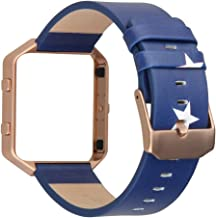 V-Moro for Fitbit Blaze Band with Metal Frame, Large Accessories Leather Bands for Fitbit Blaze Smart Fitness Watch (Leather Star+Rose Gold Frame-Large)