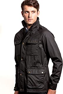 VEDONEIRE Mens Wax Jacket (3050) BLACK brushed check lining