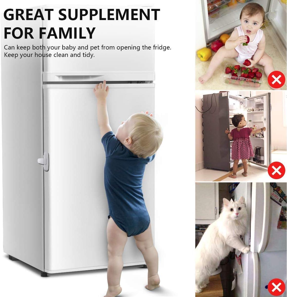 Latch Catch Freezer Locks Toddler Kids Child Baby Safety Child Fridge Lock Home Fridge Door Lock Easy to Install 1 Pack, White