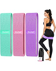 ihuan Weerstandsbanden voor benen en kont, 3 niveaus oefenband, anti-slip & roll elastische workout buit banden voor vrouwen squat glute Hip Training