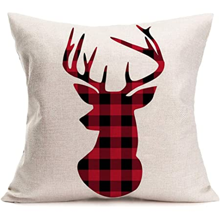 Fjfz Cotton Linen Home Decorative Throw Pillow Case Cushion Cover For Sofa Couch Christmas Winter Deer Scottish Buffalo Plaid Red 18 X 18 Home Kitchen