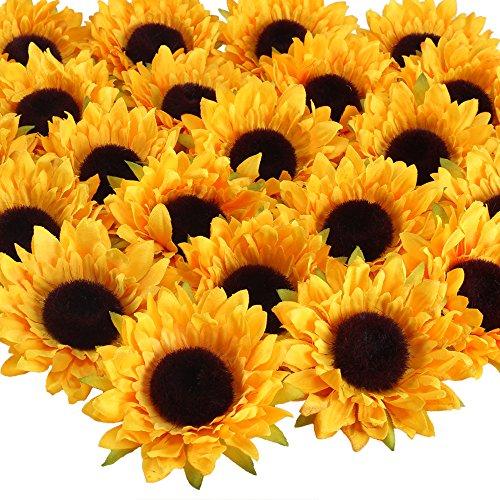HUAESIN 24pcs Künstliche Sonnenblumen Kunstblumen Kopf 9cm Sonnenblumen Seidenblumen Sunflowers Plastikblumen Deko für Hochzeit Party Tischdeko Fotografie DIY Handwerk Dekoration