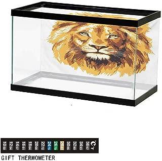 wwwhsl Aquarium Background,Safari,Illustration of Charismatic Tiger Territorial Predator Power with Patterns,Grey Black White Fish Tank Backdrop