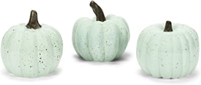 Transpac Pumpkin Mint Green Speckle 4 x 4 Clay Ceramic Harvest Figurines Set of 3