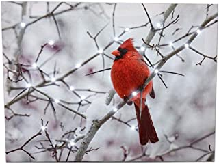 BANBERRY DESIGNS Cardinal Canvas Wall Art - Lighted Print Red Cardinals Snowy Winter Scene - Light Up Christmas Pictures
