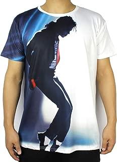 Shuanghao メンズ MJ マイケル ジャクソン スペース ダンス トップ パンク コットン 100% カラフル Tシャツ トップ カジュアル Tシャツ