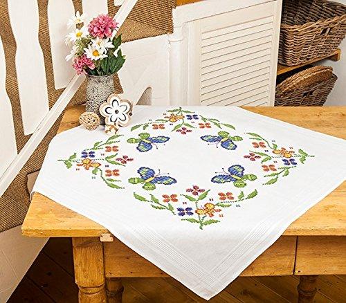 Kamaca Stickpackung Butterfly - Stickdecke 80 cm x 80 cm - Kreuzstich vorgezeichnet - aus 100% Baumwolle - fertig gesäumt - qualitativ hochwertig - zum Sofort-Loslegen