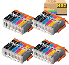 HGZ 24 Pack Ink Compatible Ink Cartridge Replacement for Canon PGI 250 PGI-250 XL CLI 251 CLI-251 for Pixma MG5420 MG5422 MG5520 MG5522 MG5620 MG6620 iP7220 iX6820 MX722 (4PGBK/4BK/4C/4M/4Y/4GY)