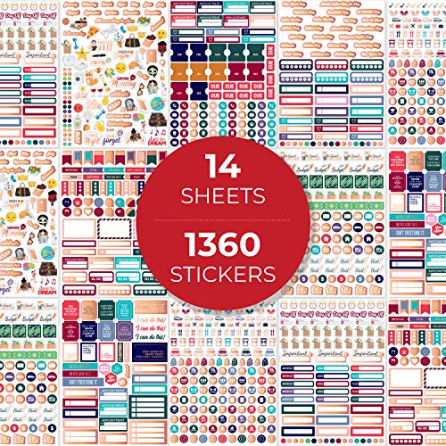 Planner Stickers - Monthly, Weekly & Daily Planner Stickers 14 Sheets Set of 1360+ Unique Stickers by Clever Fox (Value Pack)