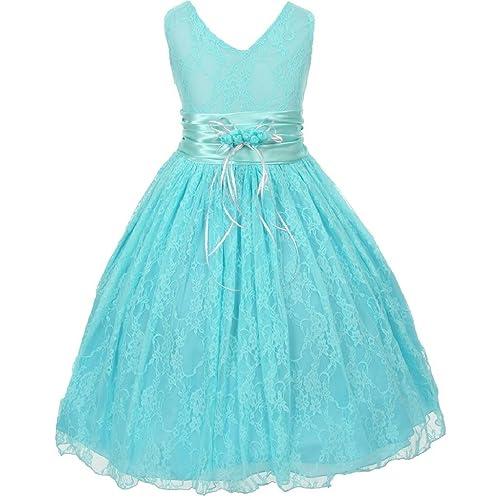 27b625fe2 Little Girls Embellished Waistband Lace Flowers Girls Dresses