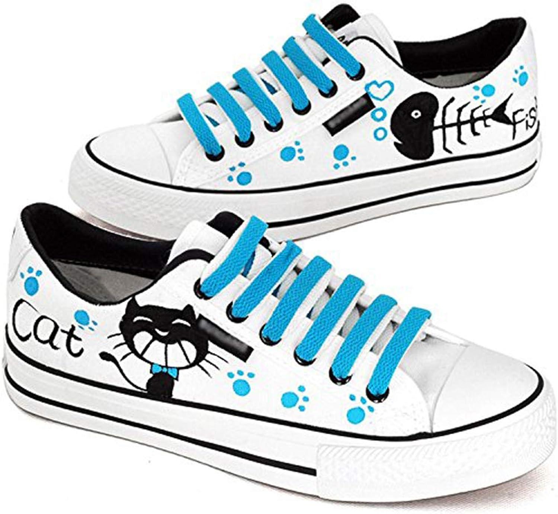 D-Sun Unisex Students's Cat & Fish Fashion Sneaker Hand-painted Canvas shoes Black