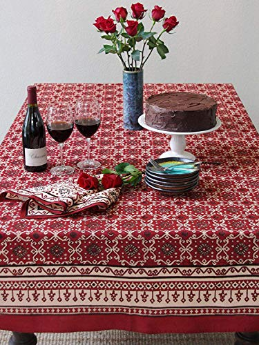 Saffron Marigold 70x90 Ruby Kilim Geometric Print Tablecloth | Turkish Kilim Red Black Middle Eastern Decorative Holiday Table Cloth for Thanksgiving, Christmas, or Formal Occasions