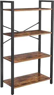 VASAGLE Bookshelf, 4-Tier Bookcase, Living Room Standing Unit Shelf, Stable Steel Frame, Bedroom, Office, Industrial Design,