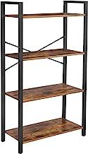 VASAGLE Bookshelf, 4-Tier Bookcase, Living Room Standing Unit Shelf, Stable Steel Frame, Bedroom, Office, Industrial Design, Rustic Brown ULLS60BX