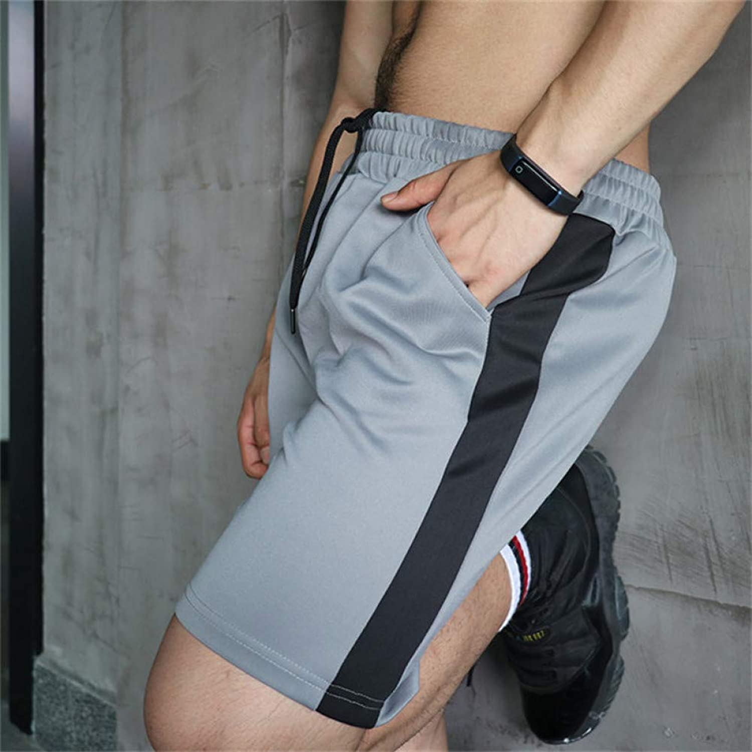 TOPDCO Slim Fit Men's Over Knee Shorts Gyms Bodybuilding Joggers Sweatpants Shorts Men Sportswear Clothing