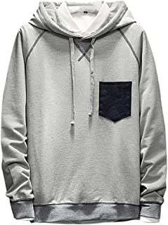 WINJUD Pullover Men's Casual Patchwork Hoodie Long Sleeves Tops Sweatershirt Blouse Winter
