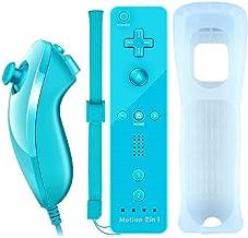 Controle remoto Lyyes Wii com Motion Plus Wii Motion com Nunchuck para Wii Wii U (azul)