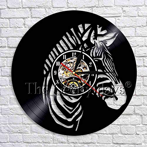 LED-Zebra silhouette shadow vinyl record wall clock modern design 3D wall watch wild animal wall decoration for kids room
