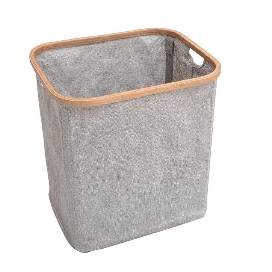 フラグラントキャンペーンみすぼらしい家庭用折りたたみ式洗濯かご、竹と木材の布製キャリングフレーム、大きな破片のおもちゃ仕上げ収納バスケット (Size : 41x33x45cm)
