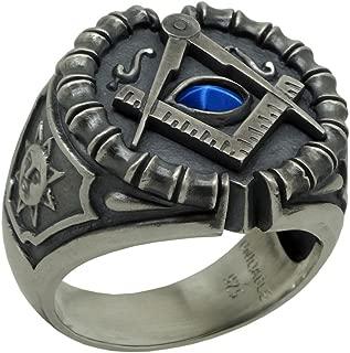 UNIQABLE Masonic Sterling Silver 925 Blue Sapphire Custom All Seeing Eye Ring Antique Finish KTR020