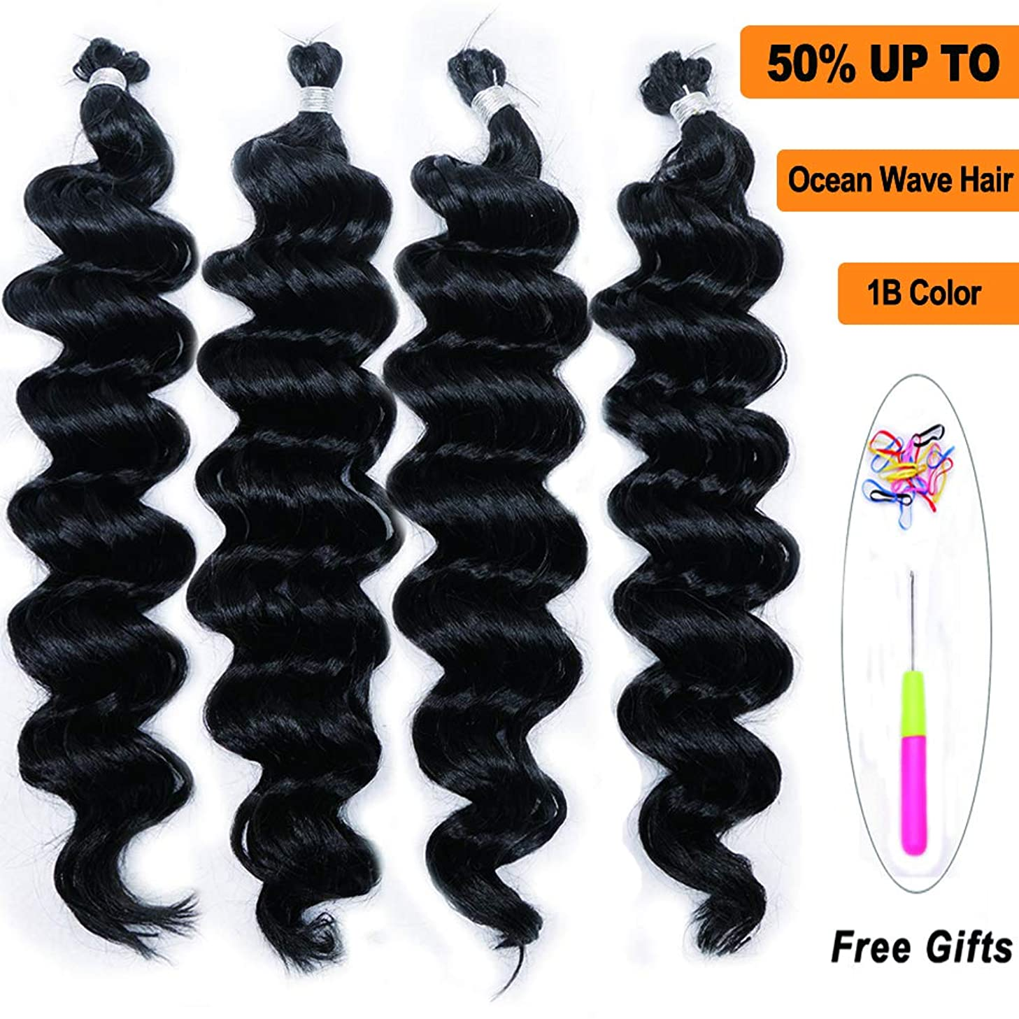 Ocean Wave Synthetic Hair 4 Bundles 18Inch Andromeda Natural Black Wavy Water Weave Deep Ripple Crochet Braids Fiber Hair Extensions with 1 Free Crochet (1B)