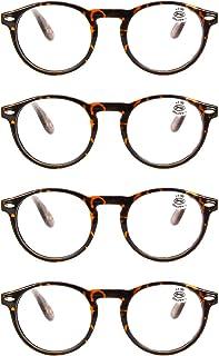 Aiweijia Reading glasses unisex round retro full frame reader glasses 4 Pack