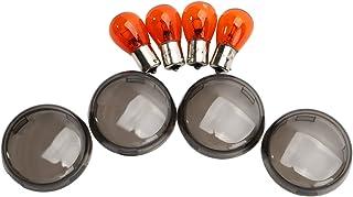 Compatible con Husqvarna TE 610 y par de Intermitentes de Bombilla 21 W para Moto homologadas Focal Lampa 90065 Indicador Universal Negro Lente Blanca luz Naranja