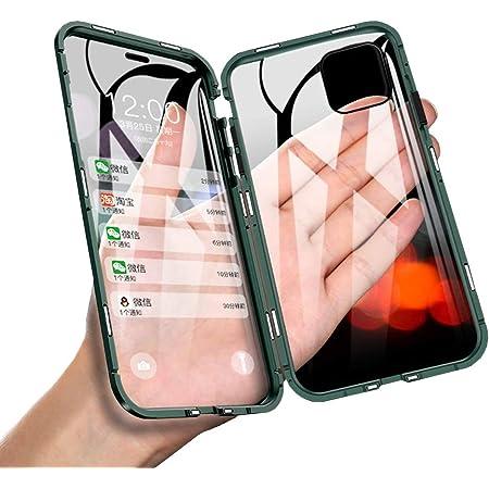 JCGOOD iPhone 11 ケース アイフォン11 ケース 透明 両面 強化 ガラス ケース 360°全面保護 スマホケース アルミ バンパー カバー マグネット式 表面 と 背面 クリア ケース 軽量 薄型 擦り傷防止 耐衝撃 ワイヤレス充電対応 ブラック