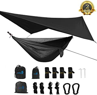 SEEU Camping Hammock with Mosquito Net, Rain Fly, Rope Straps, and Compression Sack Lightweight Portable Single Hammock