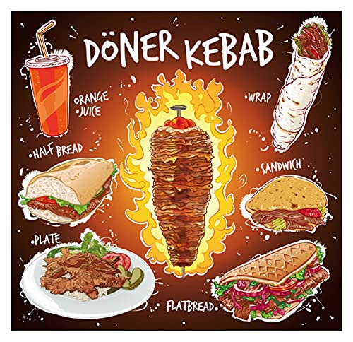 ODSHY Custom Main dessiné Donateur Kebab Plat Pain Plat Plaque Sandwich avec jus d'orange Fond d'écran Fast Food Restaurant Restaurant Papier Mural 3D (Couleur : 1, Dimensions : by Square Meters)