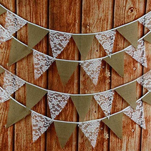 33 Feet Hessian Burlap Floral Lace Garland Bunting Banner Daily bargain sale Ru for Year-end annual account