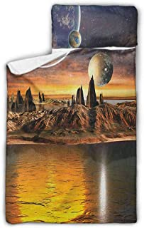 Andrea Sam Cushion Newborn Fantasy,Alien Planet with Earth Moon and Mountain Fantasy Sci Fi Galactic Future Cosmos Art, Multi Kids Nap Mat