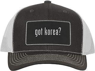 One Legging it Around got Korea? - Leather Black Metallic Patch Engraved Trucker Hat