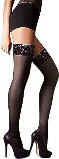 40 Denier Sheer Lace Top Hold Ups - Disponible en negro, blanco, natural y marrón
