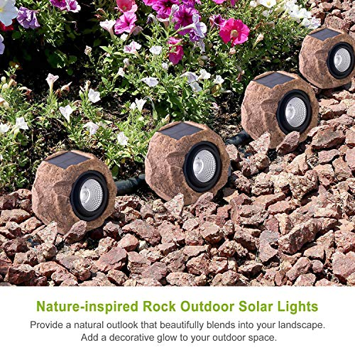 Landscape Rock Light, Solar Powered Garden Lights Outdoor Decorative Waterproof LED Spotlight for Pathway, Walkway, Yard, Patio
