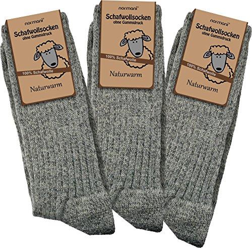 3 Paar Schafwollsocken - Socken aus 100prozent Schafwolle - naturwarm Größe 43/46