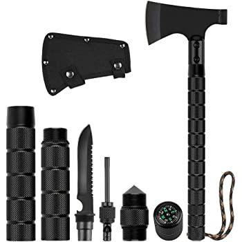 LIANTRAL Survival Axe Folding Portable Camping Axe Multi-Tool Hatchet Survival Kit Tactical Tomahawk for Outdoor Hiking Hunting