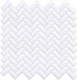 "Joqixon 4 Sheets Peel and Stick Tile Backsplash for Kitchen Bathroom 14.6""x5"", 3D Vinyl Decorative Subway Wall Tiles Self Adhesive Tile Sticker"