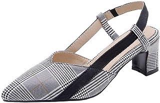 BalaMasa Womens ASL06339 Pu Block Heels