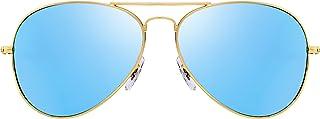 Retro Mirror Aviator Sunglasses Flash Tinted Lens Eyeglasses for Women Men UV400
