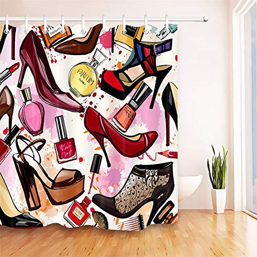 ZZZdz stijlvolle high heels, parfum en oogschaduw. Huisdecoratie. Douchegordijn. 180 x 180 cm. 12 vrije haken. 3D Hd-druk. Rijke patronen.