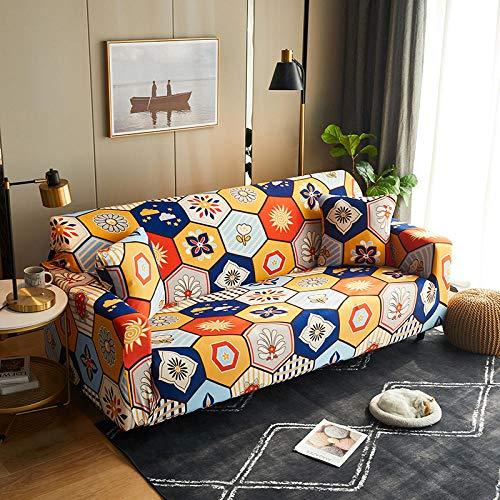 Funda Sofas 2 y 3 Plazas Geometría De Color Fundas para Sofa con Diseño Elegante Universal,Cubre Sofa Ajustables,Fundas Sofa Elasticas,Funda de Sofa Chaise Longue,Protector Cubierta para Sofá