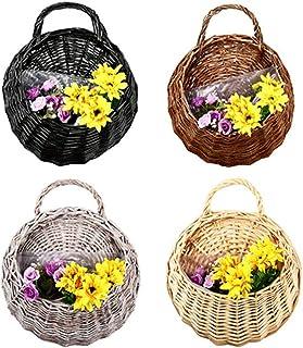 CHDHALTD Wall Fence Hanging Planter,Handmade Rattan Basket,Hand Made Wicker Rattan Flower Basket,Flower Pots Hanger Garden...