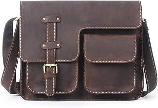 Mens Bag Zip Leather Messenger Bag Shoulder Bag Retro Men's Briefcase Computer Bag High capacity