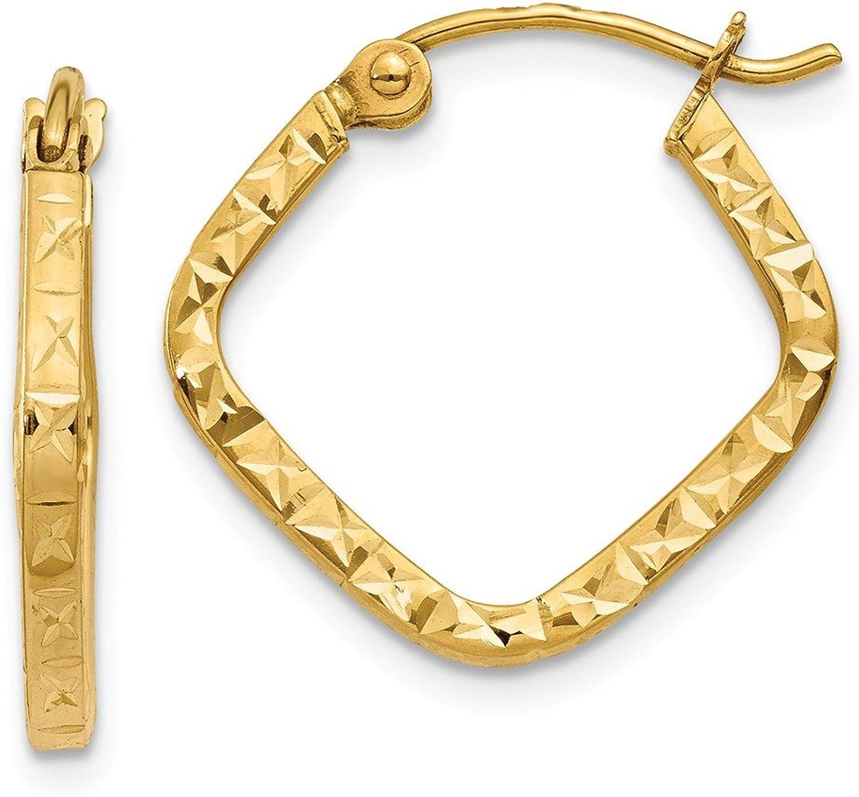 Beautiful Yellow gold 14K Yellowgold 14K Diamond Cut Squared Hoop Earrings