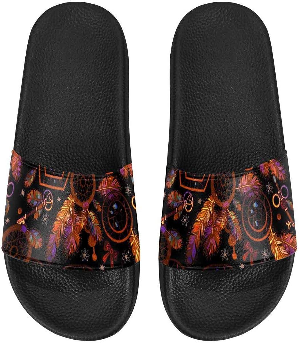 InterestPrint Women's Casual and Lightweight Slipper Sandals for Outside Dream Catcher Color Dot