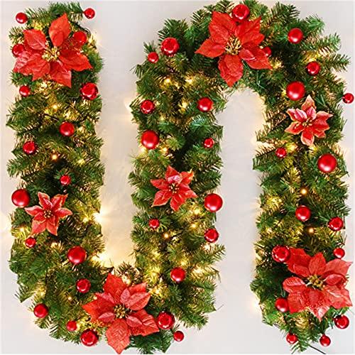 Wandskllss Guirnalda de Navidad de 8,8 pies de guirnalda realista de Navidad colgante de vid para Navidad, invierno, vacaciones, Año Nuevo, chimenea, marco de puerta, color rojo